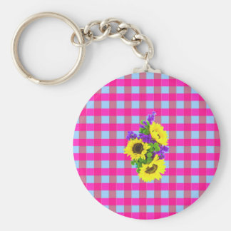 A Retro Pink Teal Checkered Sun Flower Pattern. Key Chains