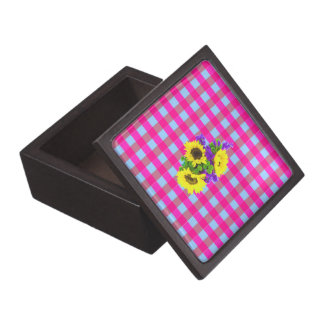 A Retro Pink Teal Checkered Sun Flower Pattern. Premium Gift Boxes