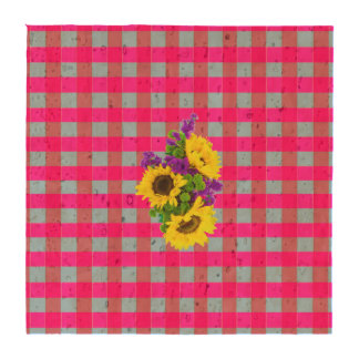 A Retro Pink Teal Checkered Sun Flower Pattern. Drink Coasters