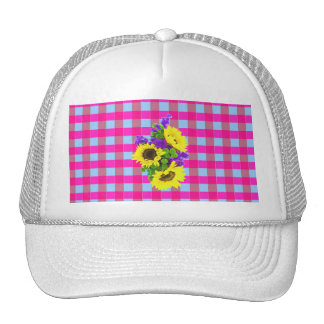 A Retro Pink Teal Checkered Sun Flower Pattern. Trucker Hat