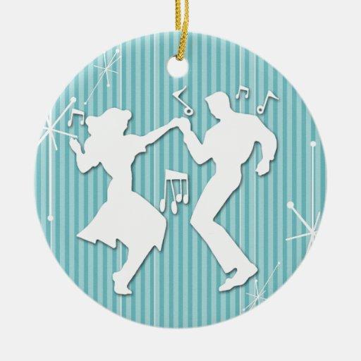 A Retro Rockin' Theme Christmas Tree Ornament