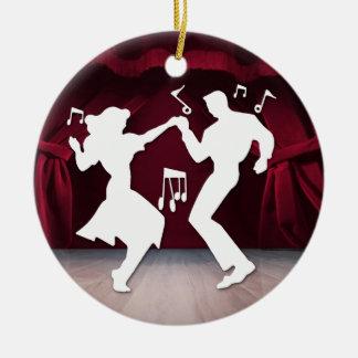 A Retro Rockin' Theme Double-Sided Ceramic Round Christmas Ornament
