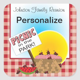 A Reunion | Picnic in the Park | Any Occasion Square Sticker