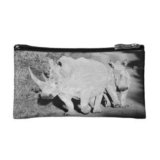 A Rhino mother and her calf in South Africa Makeup Bag