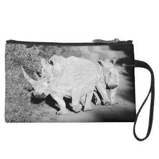 A Rhino mother and her calf in South Africa Suede Wristlet Wallet