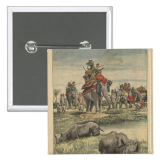 A rhinoceros hunt in honour of King George V 2 Inch Square Button