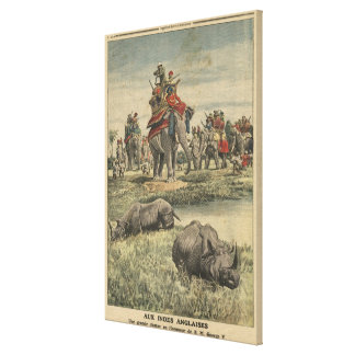 A rhinoceros hunt in honour of King George V Canvas Print