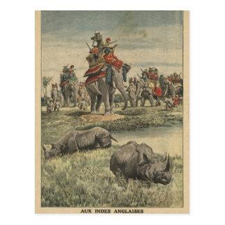 A rhinoceros hunt in honour of King George V Postcard