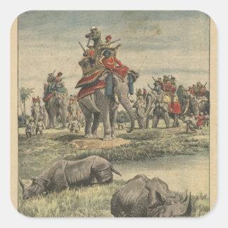 A rhinoceros hunt in honour of King George V Square Sticker