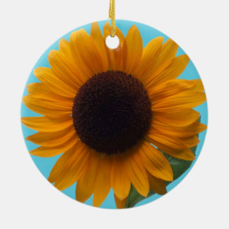 A Rich Autumn Beauty Sunflower in the Round Christmas Tree Ornaments