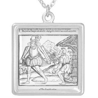 A Rich Man Spurns a Ragged Beggar Silver Plated Necklace