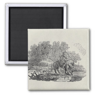 A Rider Distracted by a Flock of Birds 2 Inch Square Magnet