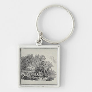 A Rider Distracted by a Flock of Birds Keychain