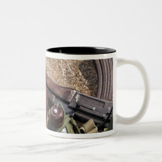 A rifle, military cover and canteen Two-Tone coffee mug