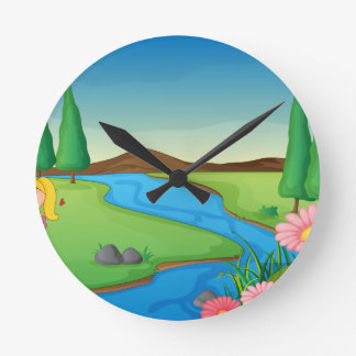 a river and a girl round wall clock