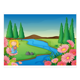 a river and a girl postcard