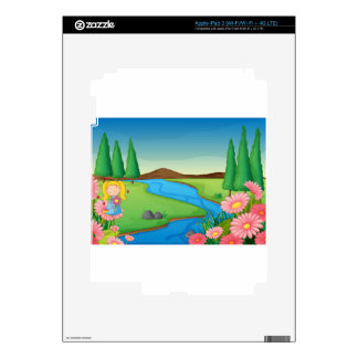 a river and a girl iPad 3 decal