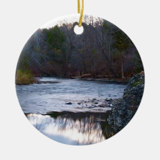 A River in the Fall Ceramic Ornament