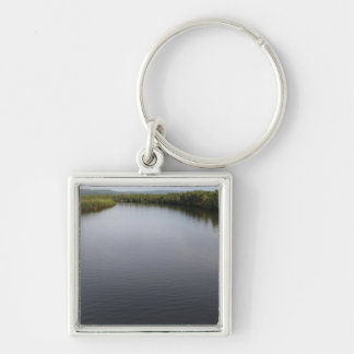 A river on Samar Silver-Colored Square Keychain
