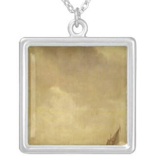 A River Scene, with Fishermen Laying a Net, 1638 Silver Plated Necklace