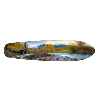 A River With Stones In Autumn Mountains Skateboard Deck