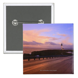 A Road & A Lighthouse Along The Coast At Sunset 2 Inch Square Button