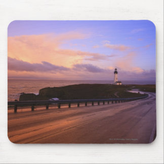 A Road & A Lighthouse Along The Coast At Sunset Mouse Pad