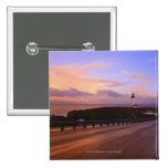 A Road & A Lighthouse Along The Coast At Sunset Pinback Button
