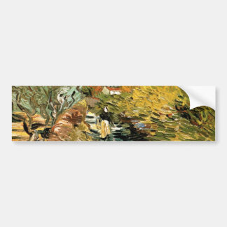 A Road at Saint-Remy with a girl by van Gogh Car Bumper Sticker