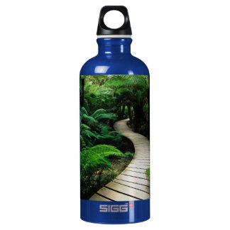A road in the middle of the wild forest aluminum water bottle