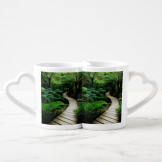 A road in the middle of the wild forest couples coffee mug