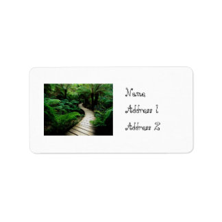 A road in the middle of the wild forest label
