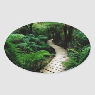 A road in the middle of the wild forest oval sticker