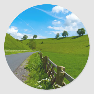 A road leading into a Yorkshire green valley. Classic Round Sticker