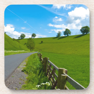 A road leading into a Yorkshire green valley. Drink Coaster