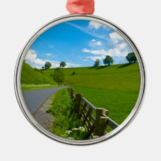 A road leading into a Yorkshire green valley. Metal Ornament