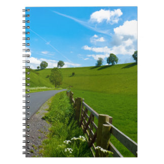 A road leading into a Yorkshire green valley. Notebook