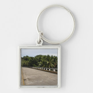 A road on Samar Silver-Colored Square Keychain