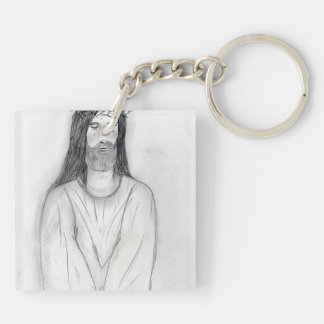 A Robed Jesus II Double-Sided Square Acrylic Keychain