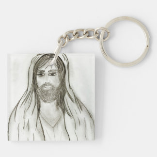 A Robed Jesus Double-Sided Square Acrylic Keychain