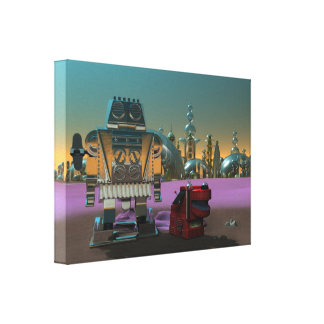 A Robot and His Dog Canvas Print