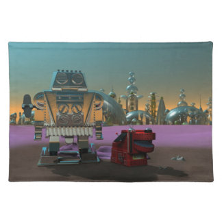 A Robot and His Dog Cloth Placemat