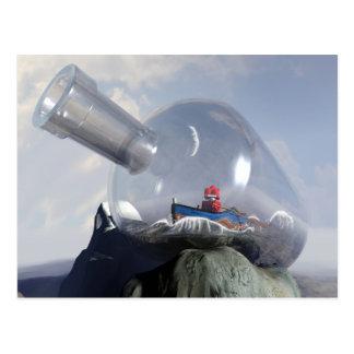 A Robot in a Bottle Postcard