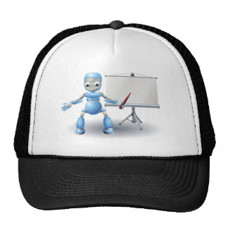 A robot mascot character presenting on roller scre mesh hat