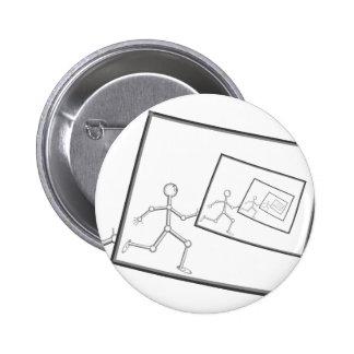 A Robot Running Into Itself Pinback Button