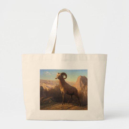 a rocky mountain sheep, Bierstadt Albert Large Tote Bag