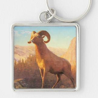A Rocky Mountain Sheep by A. Bierstadt Keychain