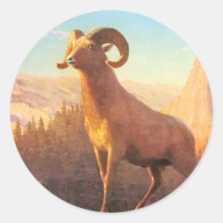 A Rocky Mountain Sheep by A. Bierstadt Round Sticker