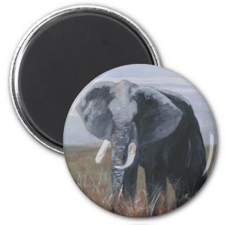 """A Rogue Elephant"" Round Magnet"