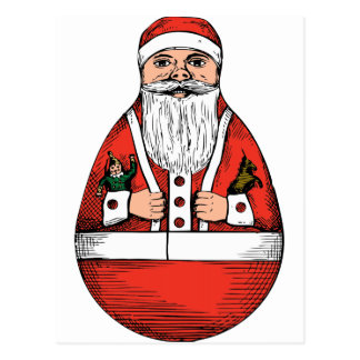 a rolly-polly Santa toy from a U S patent drawing Postcard